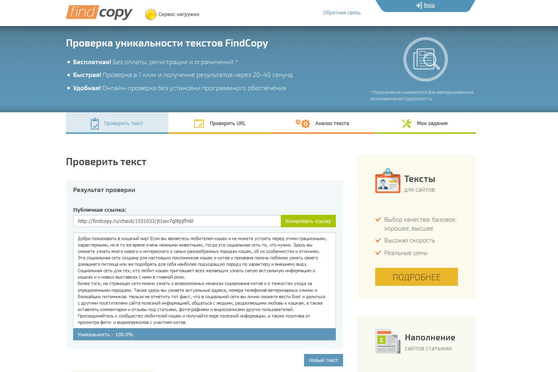 Интерфейс findcopy.ru